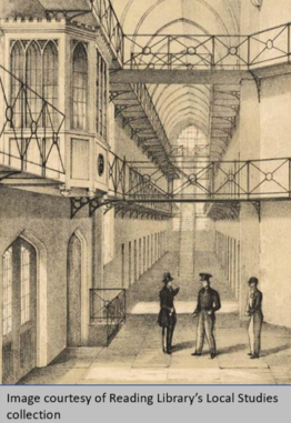 Inside sketch of the Gaol, Image Courtesy of Reading Reading Library's Local Studies collection